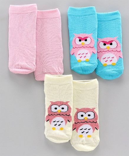 Mustang Ankle Length Socks Set of 3 Pairs - Yellow Pink Blue
