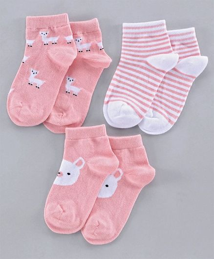 Mustang Ankle Length Socks Set of 3 Pairs - Pink White