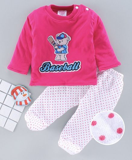 Tappintoes Full Sleeves Winter Wear Suit Baseball Print - Pink