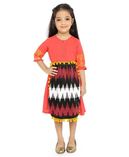 Twisha Three Fourth Sleeves Dress With Ikat European Apron - Orange