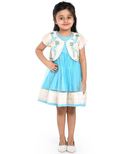 Twisha Short Sleeves Yoke Embroidered Jacket And Flared Dress - Sky Blue