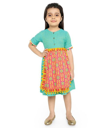Twisha Half Sleeves Pom Pom Detailed Apron With Motif Printed Dress - Sea Green