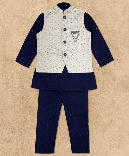 Charchit Full Sleeves Kurta With Self Design Jacket & Pajama Set - Navy Blue