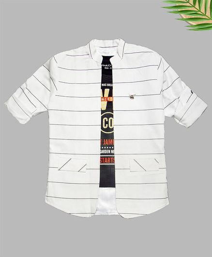 Charchit Text Printed Shirt With Striped Shirt - White
