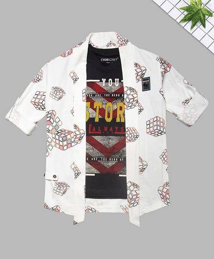 Charchit Full Sleeves Rubic Cube Printed Jacket With T-Shirt - White