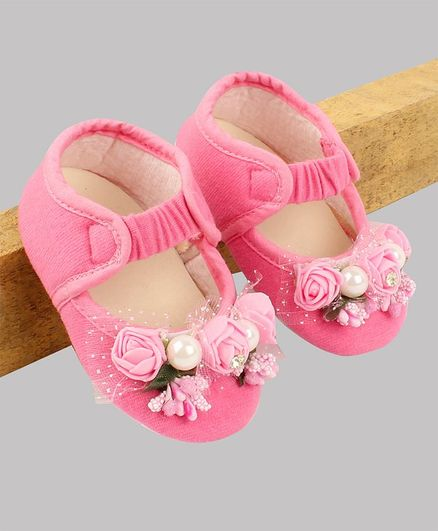 Daizy Flower Design Booties - Baby Pink