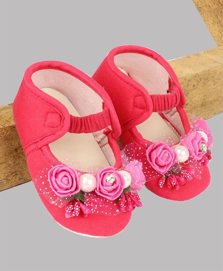 Daizy Flower Design Booties - Dark Pink