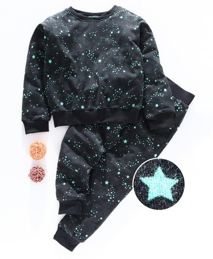 Tiara Full Sleeves Stars Print Sweatshirt With Track Pants - Black