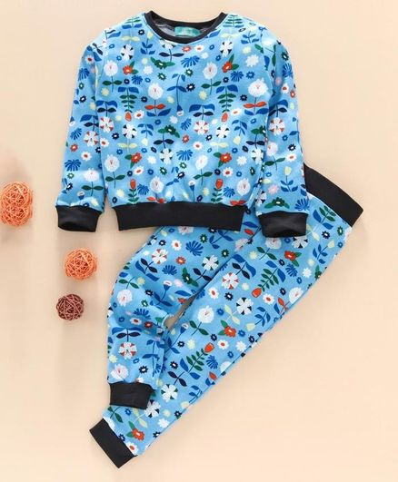 Tiara Full Sleeves Flower Print Sweatshirt With Track Pants - Blue