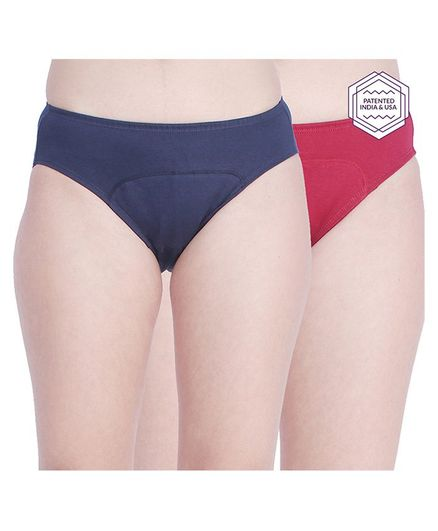 Adira Pack Of 2 Solid Colour Hipster Period Panties - Navy Blue & Maroon