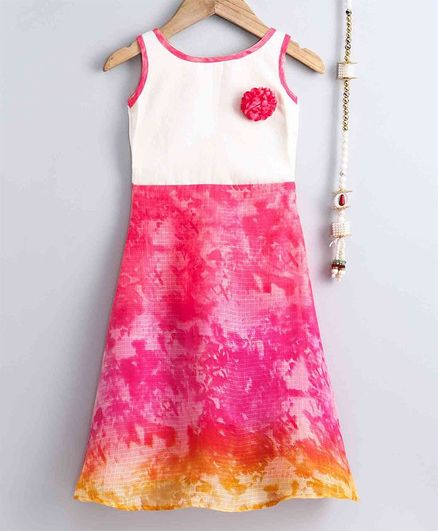 The Little Fashionistas Sleeveless Shaded Flare Abstract Print Dress - Pink