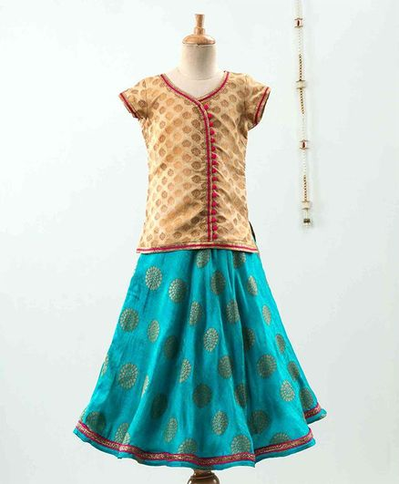 The Little Fashionistas Short Sleeves Motif Print Top With Lehenga & Dupatta - Brown Green