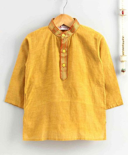 The Little Fashionistas Mangalgiri Full Sleeves Kurta - Yellow