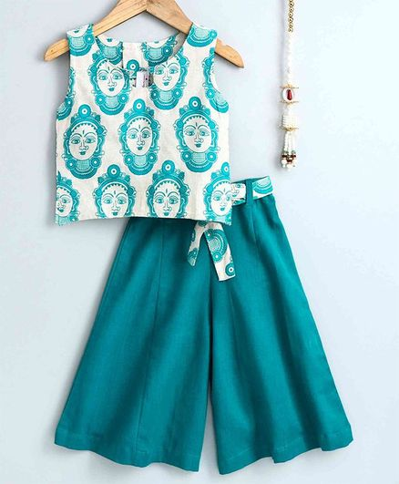 The Little Fashionistas Sleeveless Buddha Print Top With Flared Palazzo Pants - Green