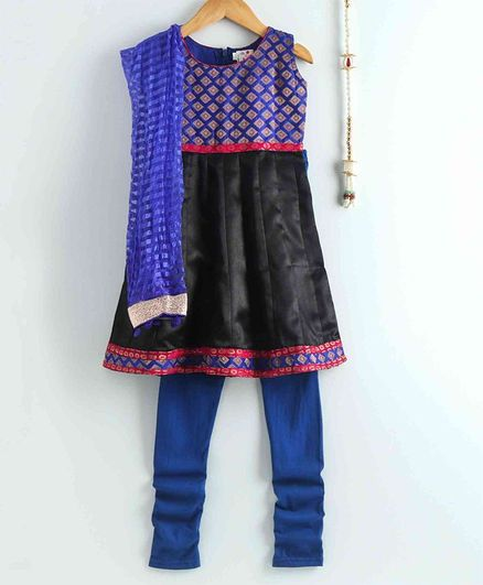 The Little Fashionistas Sleeveless Brocade Anarkali With Churidaar & Dupatta - Black