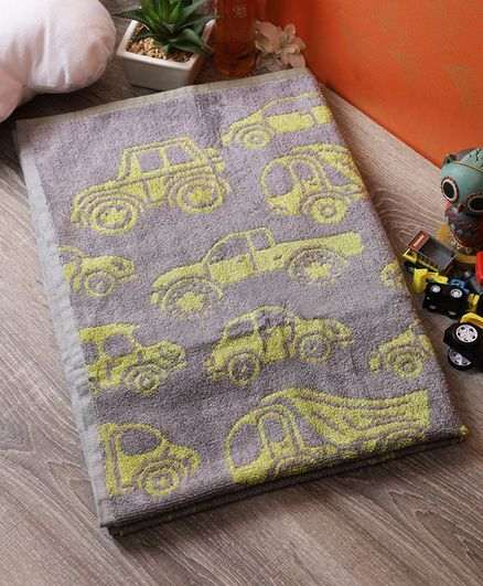 Softweave Bamboo Terry Towel Car Design - Grey Yellow
