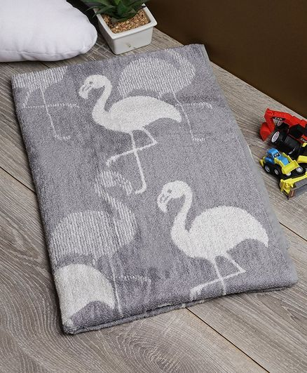 Softweave Bamboo Kids Towel Flamingos Embroidery Design - Grey