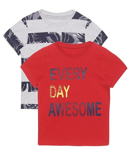 Plum Tree Half Sleeves Every Day Awesome Print Pack Of 2 Tee - Red