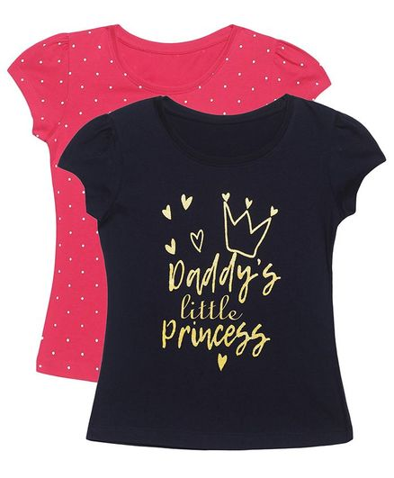 Plum Tree Short Sleeves Daddy Little Princess Print Pack Of 2 Tee - Black & Dark Pink