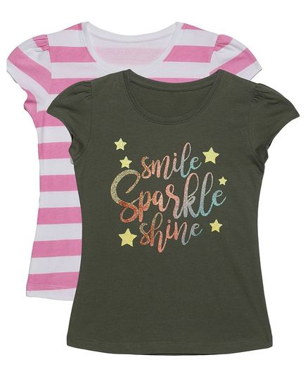 Plum Tree Short Sleeves Smile Sparkle Shine Print Pack Of 2 Tee - Olive