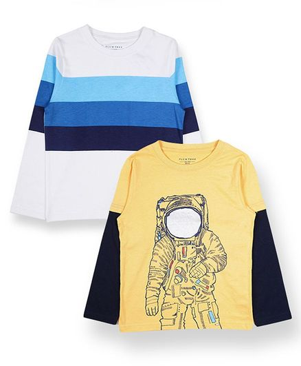 Plum Tree Full Sleeves Astronaut Print & Striped Pack Of Two Tee - Blue Yellow