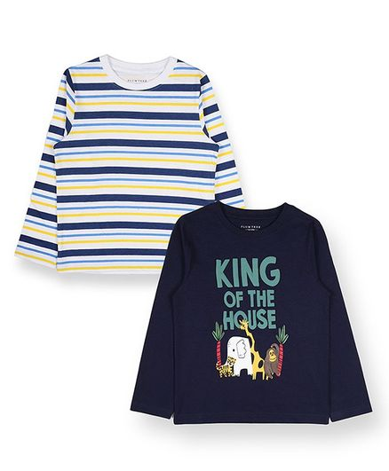 Plum Tree Full Sleeve King Of The House Print T-Shirt With Pack Of 2 - Navy & Off White