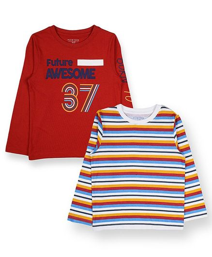 Plum Tree Full Sleeves Striped & Number Print Pack Of Two Tee - Red