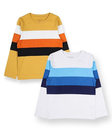 Plum Tree Full Sleeves Pack Of Two Striped Tee - Yellow White