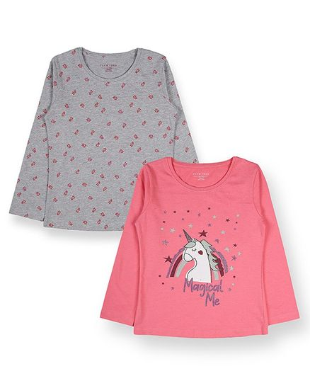 Plum Tree Full Sleeves Unicorn Print Pack Of Two Tee - Pink Grey