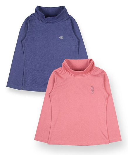 Plum Tree Full Sleeves Solid High Neck Tee - Pink Blue
