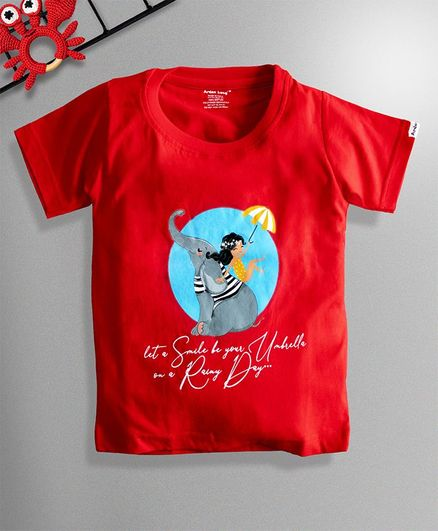 Ardan Lucy Half Sleeves Let Smile Be Your Umbrella On A Rainy Day Tee - Red
