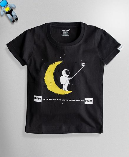 Ardan Lucy Half Sleeves Selfie With Moon Tee - Black
