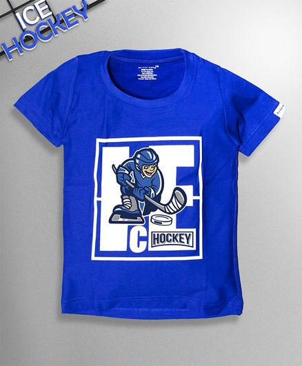 Ardan Lucy Half Sleeves Lets Play Ice Hockey Tee - Royal Blue