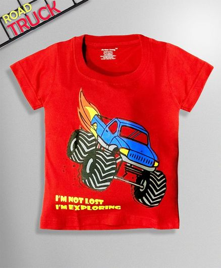 Ardan Lucy Half Sleeves Adventurous Monster Car Tee - Red