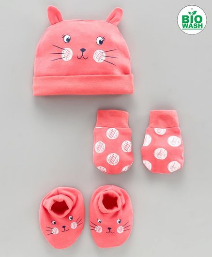 Babyoye Cap Mittens and Booties Set Kitty Print Pink - Diameter 10 cm