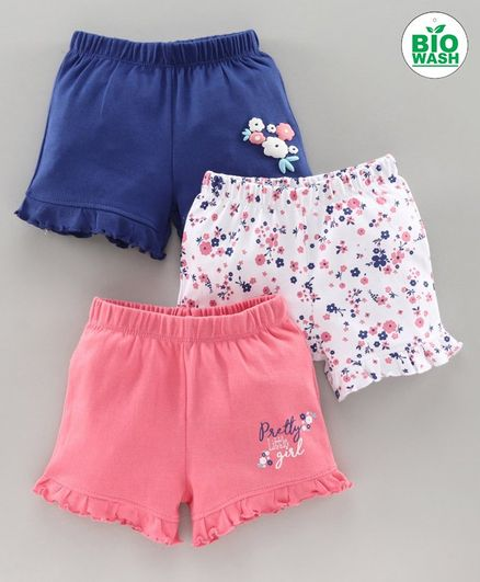 Babyoye Shorts Floral Print  Pack of 3 - Blue Coral White