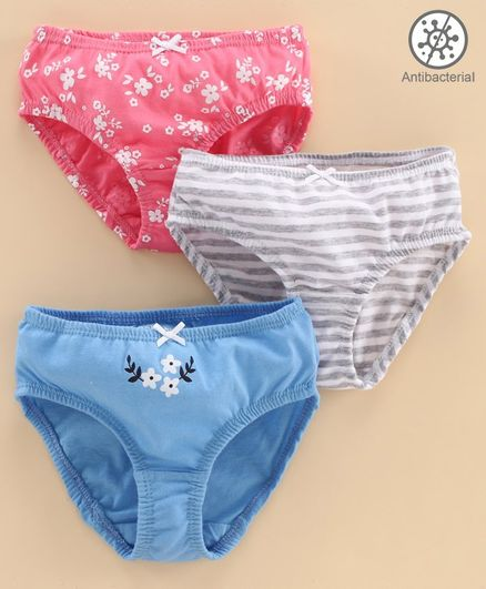 Babyoye Cotton Panties Striped & Printed Pack of 3 - Pink Grey Blue