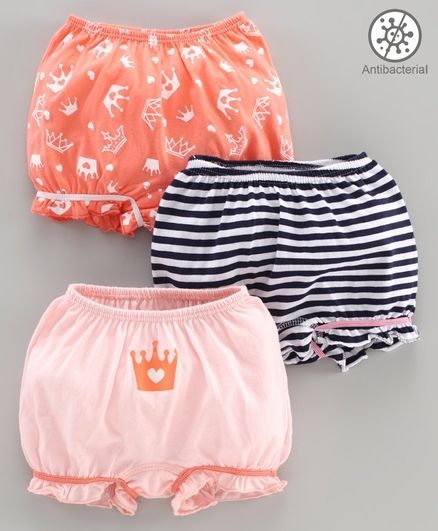Babyoye Cotton Bloomer Pack of 3 - Orange Black Peach