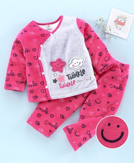 Brats and Dolls Full Sleeves Winter Wear Night Suit Smile  Print - Pink