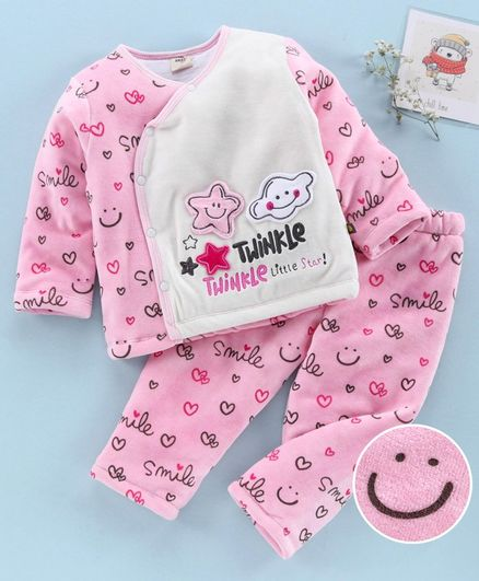 Brats and Dolls Full Sleeves Winter Wear Night Suit Smile  Print - Light Pink