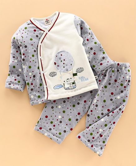 Brats and Dolls Full Sleeves Night Suit Dots Print - Grey