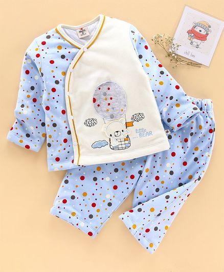 Brats and Dolls Full Sleeves Night Suit Dots Print - Blue