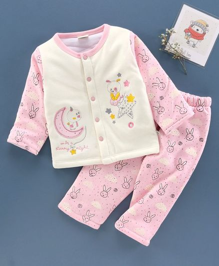 Brats and Dolls Winter Wear Full Sleeves Night Suit Rabbit Print - Pink