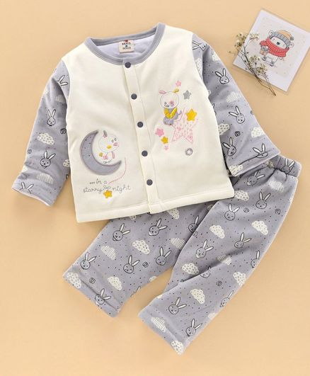 Brats and Dolls Winter Wear Full Sleeves Night Suit Rabbit Print - Grey