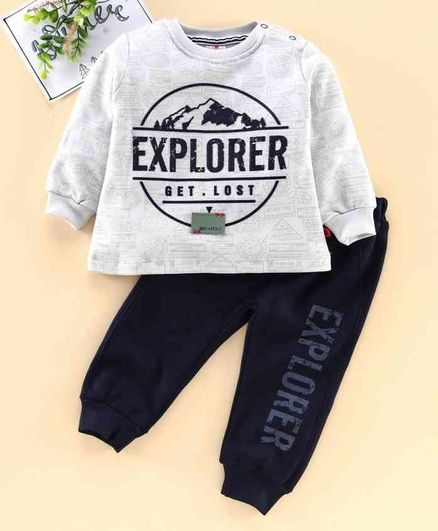 Brats & Dolls Full Sleeves Tee & Lounge Pant Explorer Print - Light Grey Navy Blue