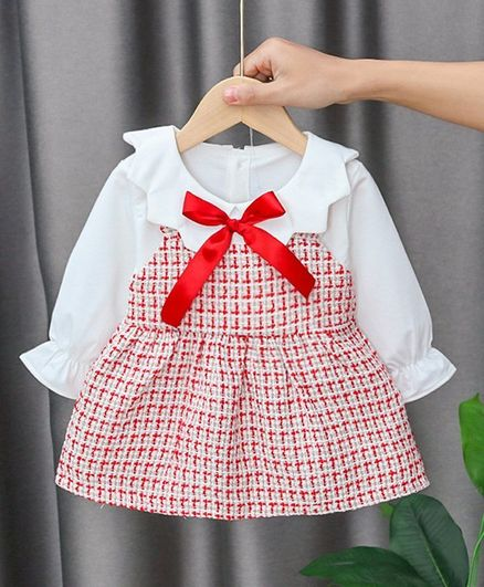 Kookie Kids Full Sleeves Checked Frock - Red
