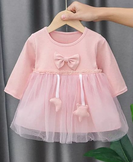 Kookie Kids Full Sleeves Frock with Bow Applique - Light Pink
