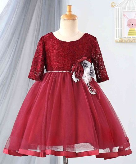 Anna Maria Full Sleeves Floral Lace Work Dress - Maroon