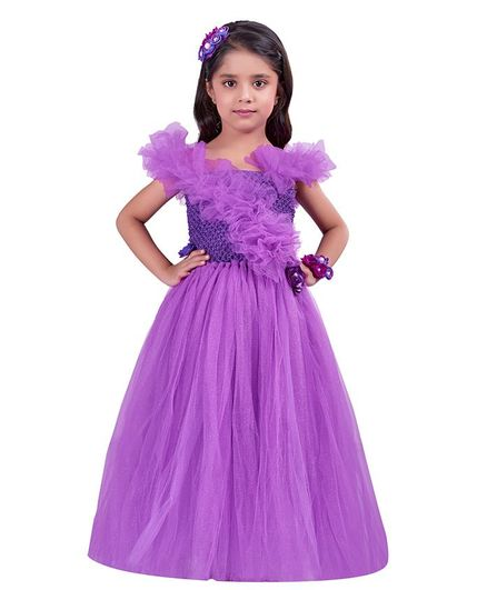 Pink Chick Flower Applique Sleeveless Ruffled Gown - Purple