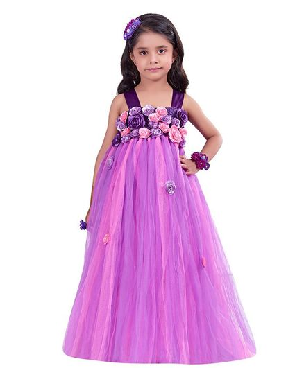 Pink Chick Flower Embellished Sleeveless Gown - Purple